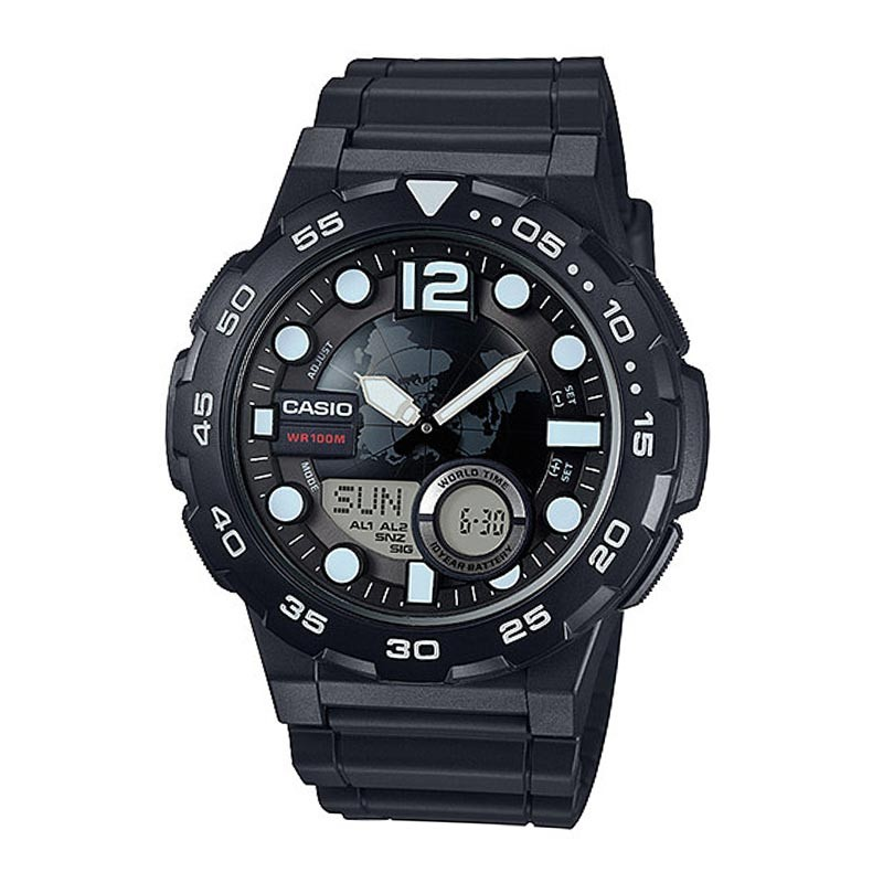 Round World Map Dial Watches For Men By Casio Aeq 100w 1avdf
