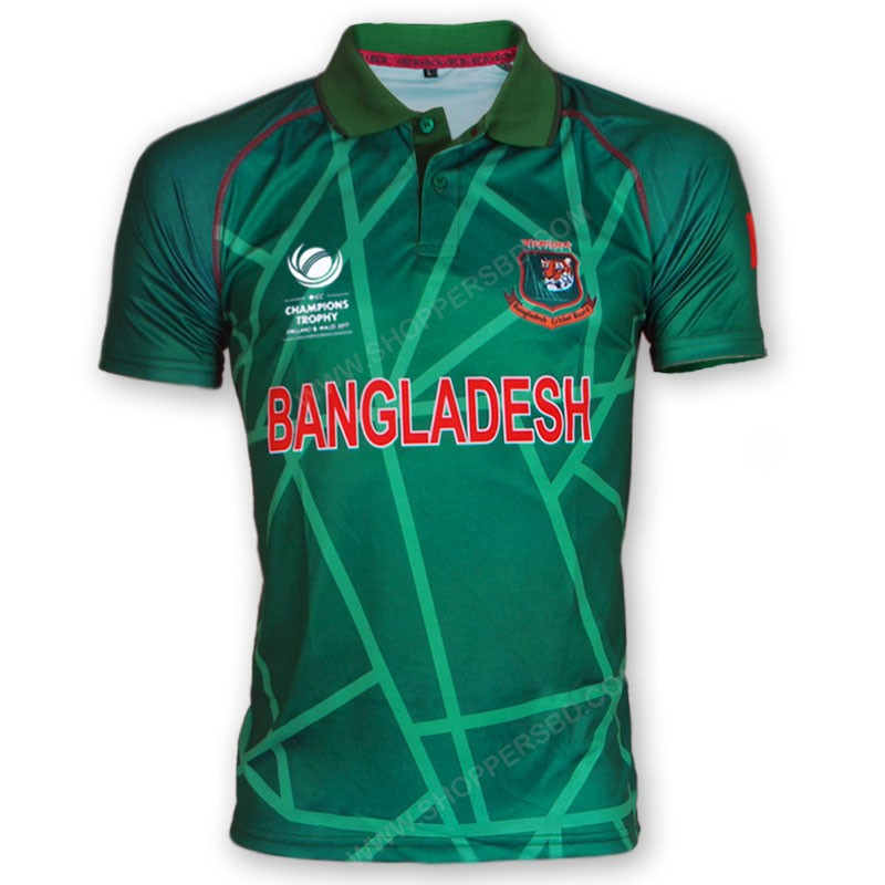 e009a151f645 lightbox moreview · ICC Champions Trophy 2017 Bangladesh Cricket Team Jersey  - Green Version Back lightbox moreview. PrevNext