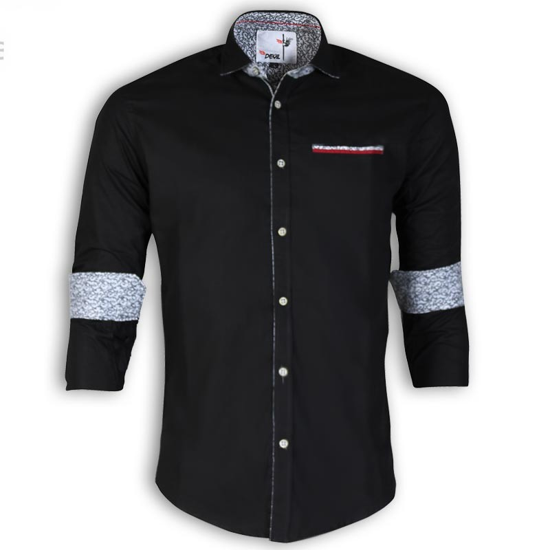 DEVIL Pure Cotton Casual Black Shirt DE126