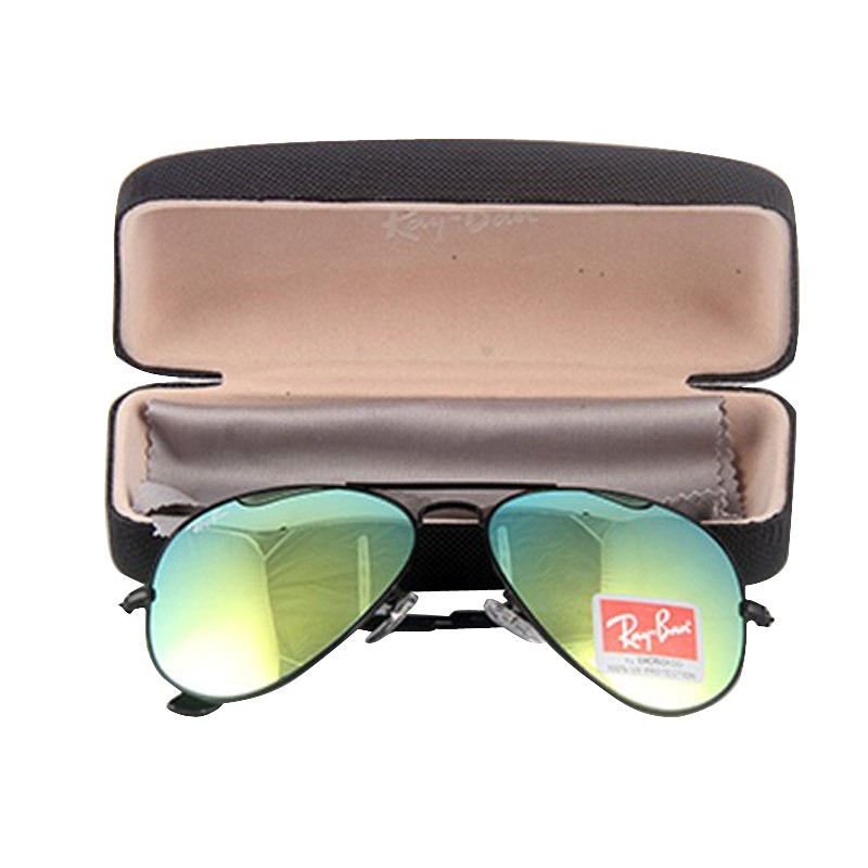 ray ban clone sunglasses  Ray-Ban RB 3026 Lime Mirror Aviator Black Frame Replica Sunglasses