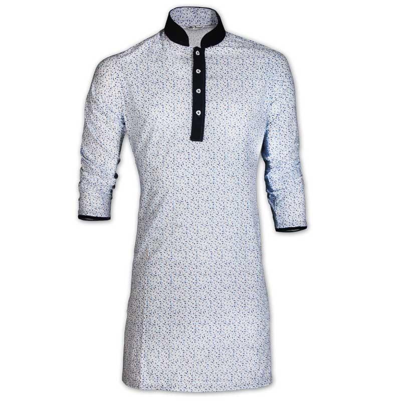 Rising Blue Storm Print Cotton Eid Panjabi With Mokmol Placket Jc80