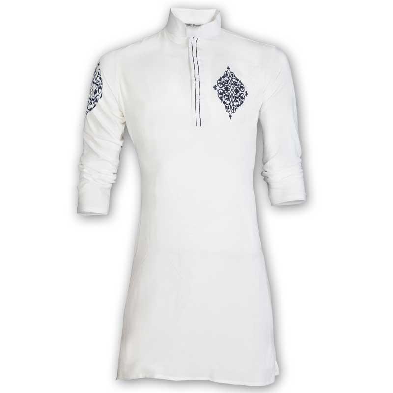 Exclusive White Indian Linen Eid Panjabi With Black Velvet