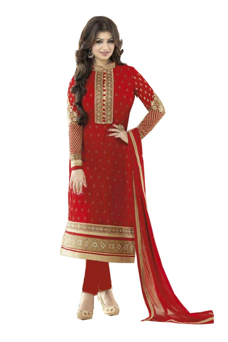 512573b4f9 Exclusive Georgette Embroidered Cotton Salwar Suit Red 2016