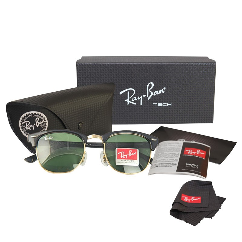 aa80fa97f38 Ray-Ban Club Master RB 3016 Polarized Black-Green Replica Sunglasses