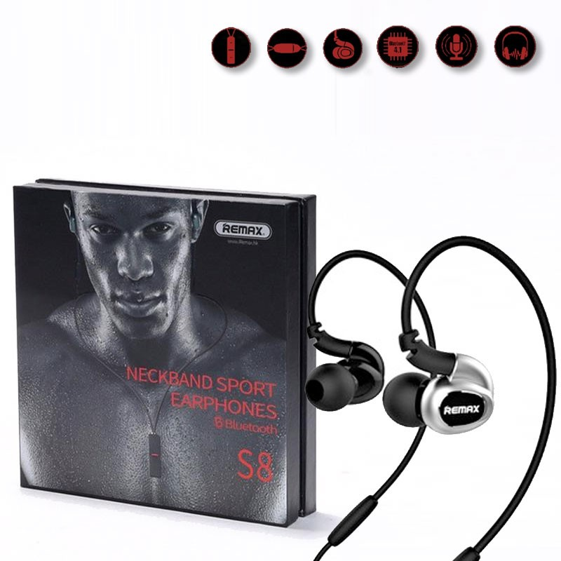 Original Remax Rm S8 Neckband Waterproof Bluetooth Headset Black White Shoppersbd