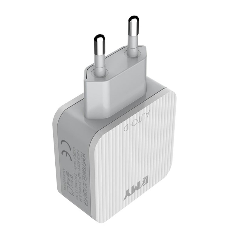 EMY 3 Fast Charger With Data Cable For Android And IPhone