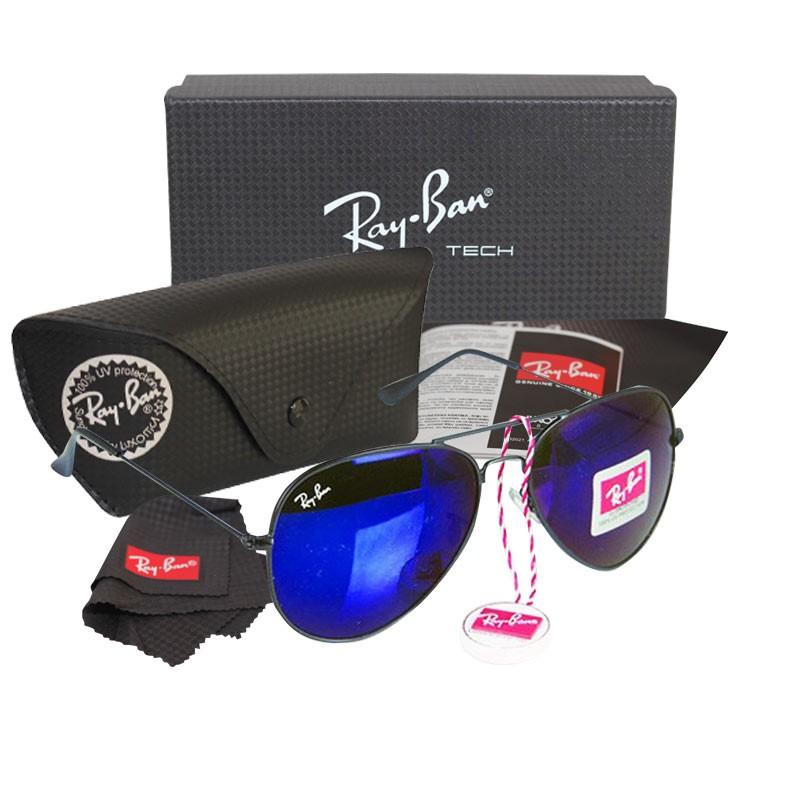 79d515e563c Ray-Ban RB 3026 Navy Blue Aviator Black Frame Replica Sunglasses