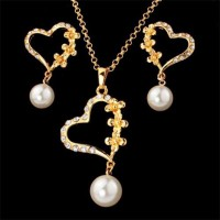 Valentines Gift Real Gold Plated Heart Jewelry Set(Earring Necklace)-002