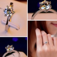 Fashionable Crystal Cast Ring White
