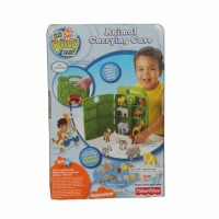 Fisher Price Go Diego Safari Rescue Animal Carrying Case (With Baboon And Hyena Figures)