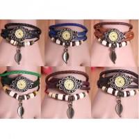 Ladies Leather Strap Leaf / Butterfly Bronze Case Bracelet Watch