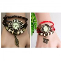 Lady Bracelet Watch ( Black & Red )