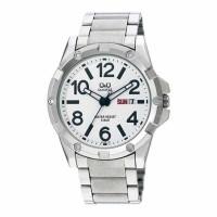 Q&Q A150J204Y Men's Quartz Watch MONTE CARLO With Leather Strap
