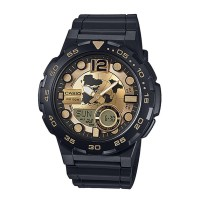 Casio Analogue And Digital Gold Dial Watch AEQ 100BW 9AVDF