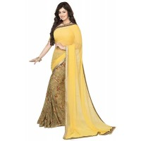 Vinay Exclusive Attractive Yellow  Printed Chiffon Saree  - SW33