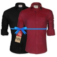 LAVELUX Premium Classic Fit Solid Cotton Formal Shirts : Combo 87