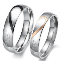 Love Heart Comfort Fit Promise Couple Ring  HCL257