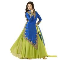 Drashti Dhami Silk Long Anarkali Suit WF069