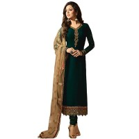 Green Gerogette Embroidery Semi Stitched Salwar Suit WF088