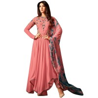 Peach Georgette Asymmetrical Style Embroidered Anarkali Suit WF086