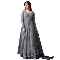Grey Semi Stitched Embroidered Floor Length Anarkali Suit WF092