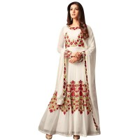 White Georgette Thread Embroidered Anarkali  Suit WF085