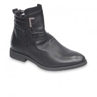 Stylish Black Cowboy Leather Boot FFS413