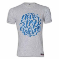 Never Stop Exploring Round Neck T-shirt MG07 Silver