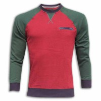 Stylish Slim Round Neck Sweater MH05 Red With Green