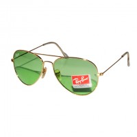 Ray-Ban RB 3026 Polar Green Aviator Gold Frame Replica Sunglasses