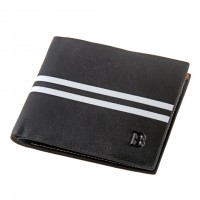 Bogesi Black White Striped Men's Leather Wallet 1996