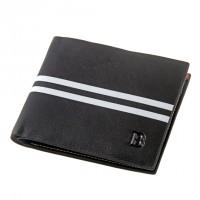 Bogesi Black White Striped Men's Leather Wallet 1996