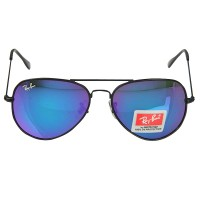 Ray-Ban RB 3026 Blue-Purple Aviator Black Frame Replica Sunglasses