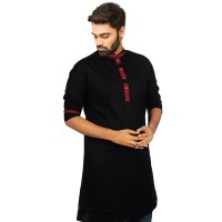 Exclusive Black Cotton Panjabi With Indian Slub JC72