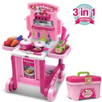 3 In 1 Little Chef Kitchen Set With Trolley Kps717 Shoppersbd