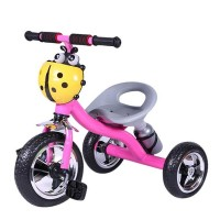 Lady Bug Tricycle With Music for Kids - Yellow and Pink