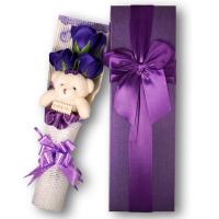 Exclusive Soap Flowers Bouquet Gift Box - Violet