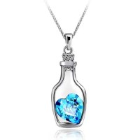 Heart in a Bottle Gemstone Pendant Necklace