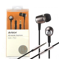 A4TECH MK-750  HD Metallic In-Ear Earphone With Mic - Black / Silver