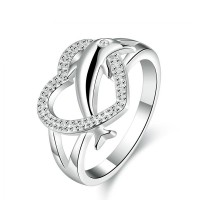 Dolphin Heart Silver Lover Crystal Ring