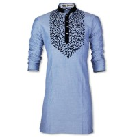 Exclusive Eid Special Oxford Nip Fabric With Flok Printed Panjabi JC74