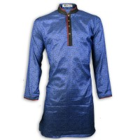 Exclusive Blue Kashmiri Silk Panjabi With Contrast Collar n Placket JC83