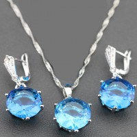Sterling Silver Jewelry Sets With Mystic Natural Blue Pendant For Women