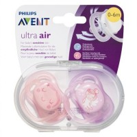 Philips AVENT Ultra Air Baby Soother Orthodontic Pacifiers 0-6 Months - Pack of 2