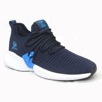 Dark Blue Cotton And Fabric Sneakers Shoe For Men FFS705