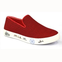 Red Color Cotton Fabric Sneakers Shoe For Men FFS706