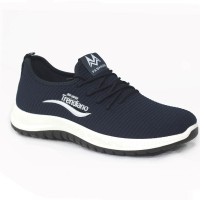 Dark Blue Color Fabric Sneakers Shoe For Men FFS707