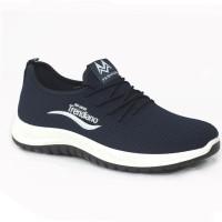 Dark Blue Color Fabric Sneakers Shoe For Men FFS707