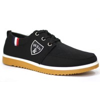 Black Cotton Sneaker Shoe For Men FFS708