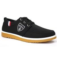 Black Cotton Sneaker Shoe For Men FFS708